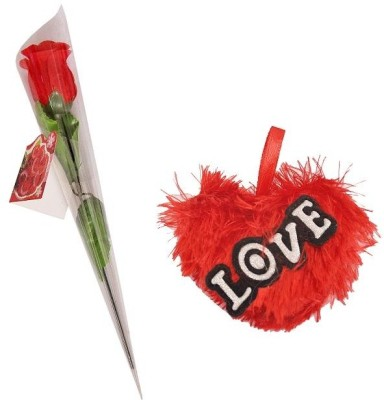 Indigo Creatives Cute Love Heart Hanging Soft Toy with Rose Gift Set
