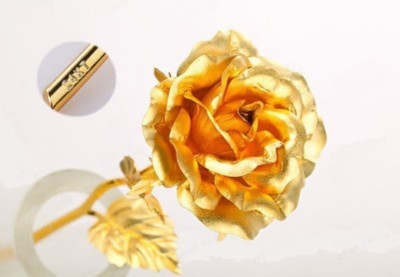 Bajya Valentine Gift Golden Foil Rose Showpiece  -  15 cm