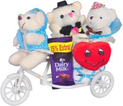 Crazytowear Blue Big Cycle With 3 Teddybear & Chocolate Heart Keychain Gift Set