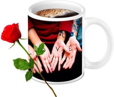 HomeSoGood Awesome Love Bonding Coffee Mug With Red Rose Valentine Gift Set Gift Set