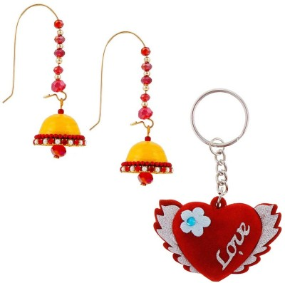 Halowishes Buy Hancrafted Kidney Hook Jhumka & Love Heart Key Chain Gift -318 Gift Set