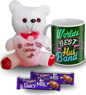 SKY TRENDS World's Best Husband Green Moments Mug Teddy and Chocolate Valentine Gift Set Gift Set