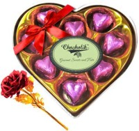 Chocholik Valentine Day Gift - 9Pc Coral Love Chocolates With Red Gold Rose Artificial Flower Gift Set best price on Flipkart @ Rs. 1499
