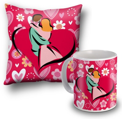 SKY TRENDS Happy Hug Day Special Moments Cushion Cover and Coffee Mug Combo Gift Set