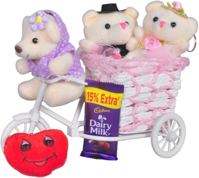 CTW 3 Small Teddy With A Cycle And A Red Heart shap Keychain & Chocolate For Valentine Day Couple Gift Set