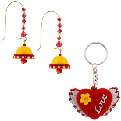 Halowishes Buy Hancrafted Kidney Hook Jhumka & Love Heart Key Chain Gift -319 Gift Set