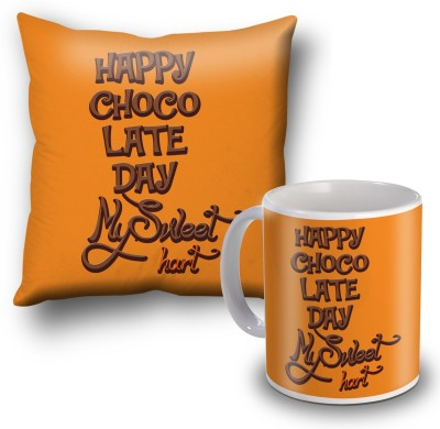 SKY TRENDS Happy Chocolate Day My Sweet Heart Cushion Cover and Coffee Mug Combo Gift Set