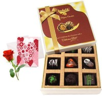 Chocholik Valentine Day Gift - 9Pc Adorable Treat Of Chocolate Box With Love Card And Rose Greeting Card Gift Set best price on Flipkart @ Rs. 1018