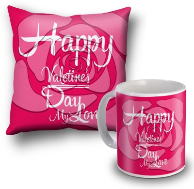 SKY TRENDS Happy Valentine's Day My Love Cushion Cover and Coffee Mug Combo Gift Set