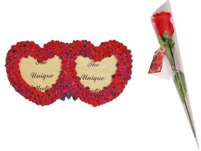 Indigo Creatives Ceramic Loving Pair Rosy Photo Frame with Rose Gift Set