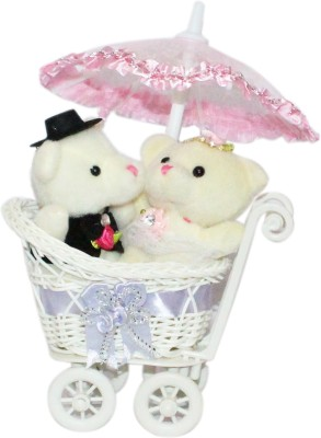 CTW Cute Kissing Teddy Love Couple Trolly Cycle With Cute Umberella Gift set Gift Set