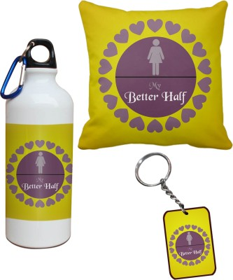 Tiedribbons My Better Half Cushion Cover Sipper and Keychains Combo Gift Set
