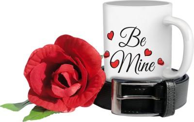 Tiedribbons day be mine mug,belt and rose combo set Gift Set