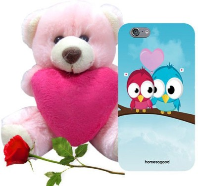 HomeSoGood Love Birds Blue iPhone 6 Mobile Case With Teddy & Red Rose Gift Set