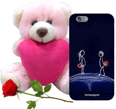 HomeSoGood Hidden Love Blue iPhone 6 Mobile Case With Teddy & Red Rose Gift Set
