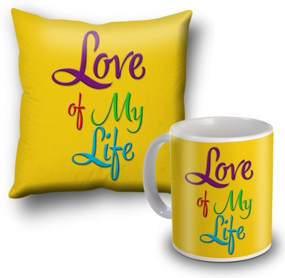 SKY TRENDS Love Of My Life Cushion Cover and Coffee Mug Combo Gift Set