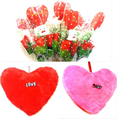 99DailyDeals R55 Combo Of Simple Rose and (20-inch) Pink,Red Love Pillow For Valentines Day Gift Set