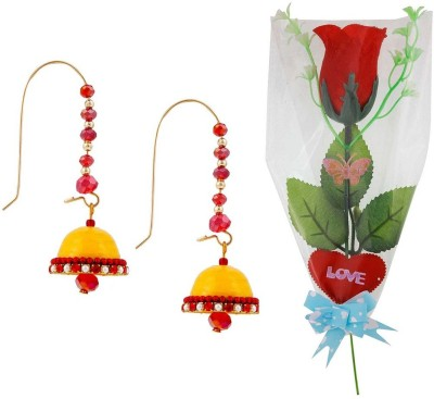 Bhavya India Buy Hancrafted Kidney Hook Jhumka & Scented Red Rose Gift -317 Gift Set