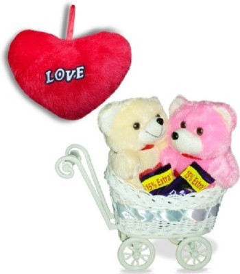CTW Cute Kissing Teddybear With Cycle love Heart & Sweat Chocolates Gift Pack Gift Set