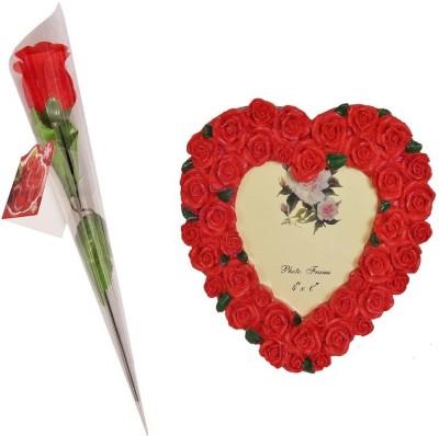 Indigo Creatives Rosy Heart Lover Photo frame with Rose Gift Set