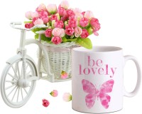 Tiedribbons Special Gifts for Girlfriend Coffee Mug(325ml) and Cycle Vase with Bunches of Peonies Artificial Flower Gift Set