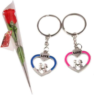 Toygully Valentine Keyring With Rose Gift Set