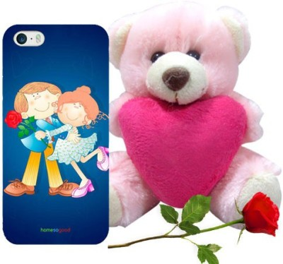 HomeSoGood The First Love Date Blue iPhone 5 / 5s Mobile Case With Teddy & Red Rose Gift Set