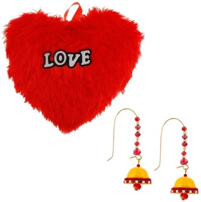Halowishes Buy Hancrafted Kidney Hook Jhumka & Get Heart Furry Cushion Gift -314 Gift Set