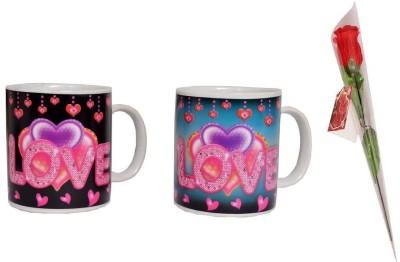 Indigo Creatives Couple,S Tea Coffee Mugs,Spoons with Rose Gift Set