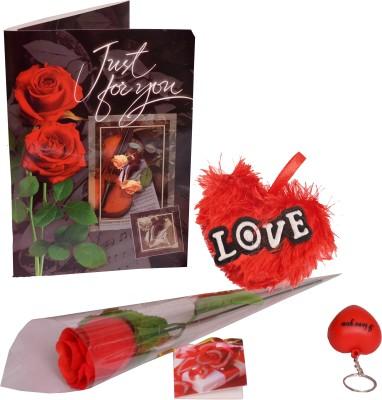 Indigo Creatives Heart Soft Toy, Rose, Musical Greeting Card, key chain Gift Set
