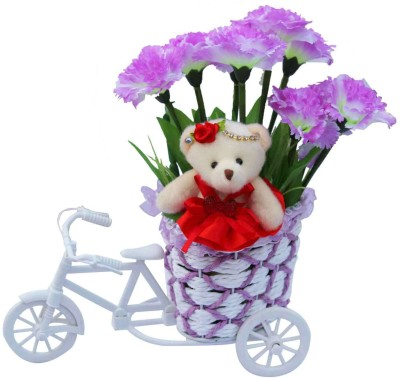 CTW Artifical Flower Basket Cycle with Tiny Teddy Girl Valentine Gift Set