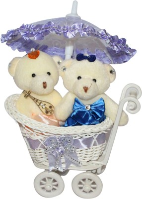 CTW Cute Teddy Love couple Decorative Trolly Cycle With Cute Umbrella Gift Set Gift Set