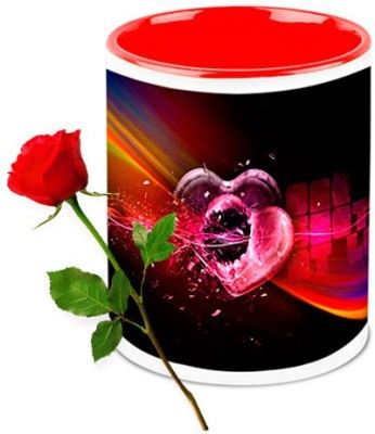 HomeSoGood Bullet For My Heart Coffee Mug With Red Rose Valentine Gift Set Gift Set