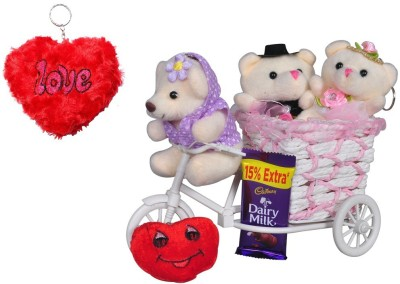 CTW Valentine Special Gift Pack Small Teddy With cycle Chocolate Musical Love You Heart & Keychain For him & Her Gift Set
