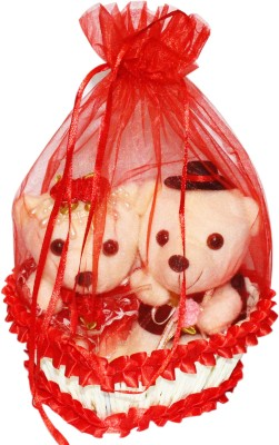 CTW Beautiful Red Heart Teddy Basket Potli Gift Gift Set