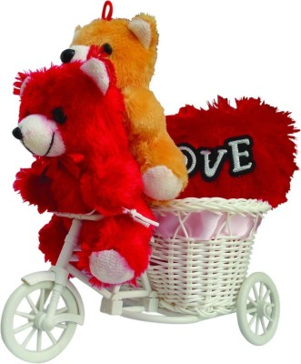 CTW Cute 2 Small Teddy Cycle with Musical Love Heart Gift Gift Set