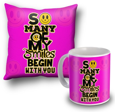 SKY TRENDS So Many Of My Smiles Begin With You Cushion Cover and Coffee Mug Combo Gift Set
