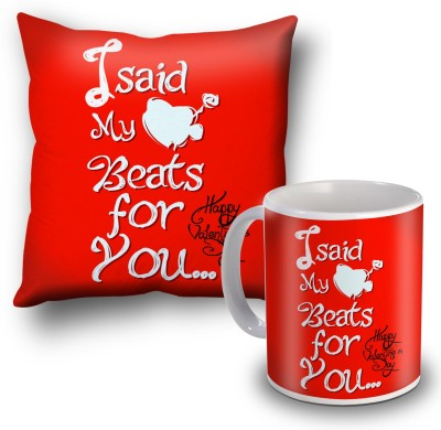 SKY TRENDS I Sad My Beats For You Red Cushion Cover and Coffee Mug Combo Gift Set