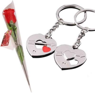 Toygully Keyring With Rose Flower Gift Set