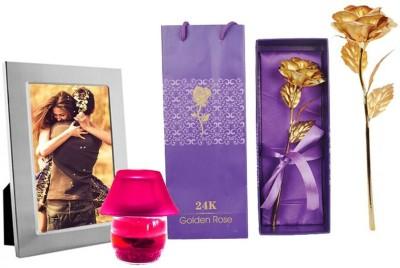 DIZIONARIO Golden Rose Photo Frame Candle Pot Gift Set