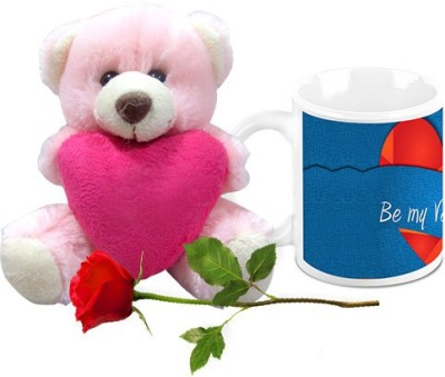 HomeSoGood Be My Valentine Coffee Mug With Teddy & Red Rose Valentine Gift Set Gift Set