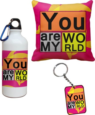 Tiedribbons You are my World Cushion Cover Sipper and Keychains Combo Gift Set