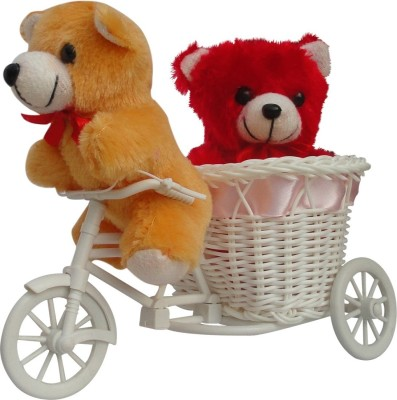 CTW 2 small Teddy With Beautiful Cycle and a love red musical heart Gift set Gift Set