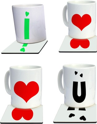 Tiedribbons Special combo of i love you mug and coaster Gift Set