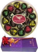 Chocholik 18Pc Chocolate Round Box Valentine Gift With 24k Red Gold Rose Artificial Flower Gift Set best price on Flipkart @ Rs. 2099