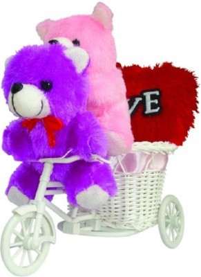 CTW Cute Soft Toy Teddybear Sitting In Cycle With Love Heart Valentine Gift set Gift Set