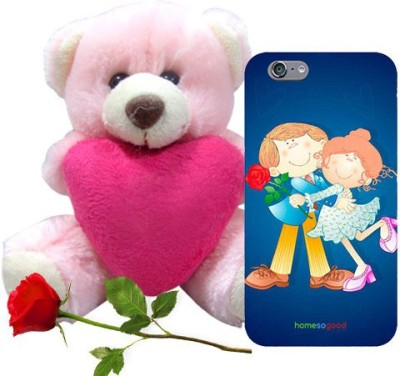 HomeSoGood The First Love Date Blue iPhone 6 Mobile Case With Teddy & Red Rose Gift Set