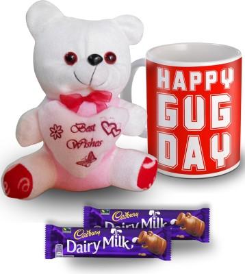 SKY TRENDS Happy Hug Day Mug Teddy and Chocolate Valentine Gift Set Gift Set
