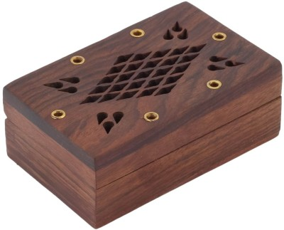 Craft Art India Handcrafted Rectangular Small Wooden With Diamond Shaped Design Jewellery Vanity Box