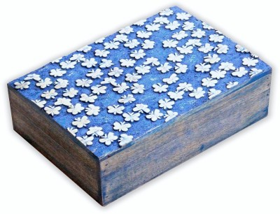 Regaloin Wooden Handmade Jewellery Vanity Box(Blue)